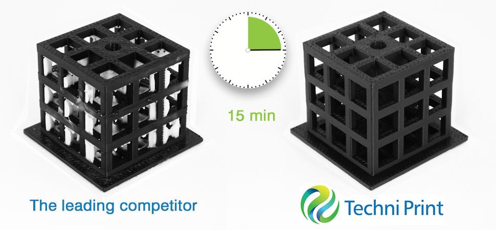Techni Print time test. Over 400x faster than leading soluble support cleaners.