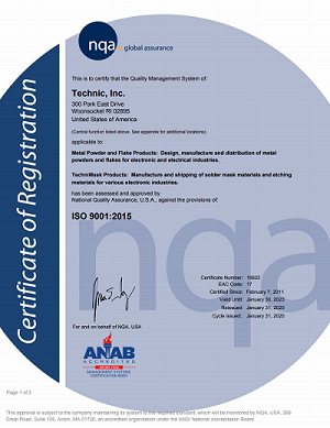 Technic Engineered Powders ISO 9001:2015 Certification