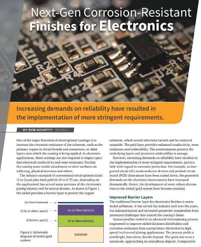 Beyond Ni/Au Next Generation Corrosion-Resistant Finishes for Electronics Applications