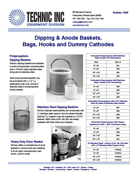 Perforated Polypropylene and Stainless Steel Dipping and Dryer Baskets
