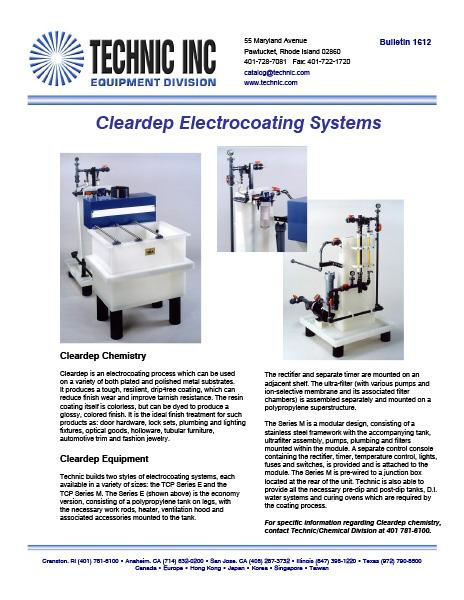 Cleardepth Electrocoating System