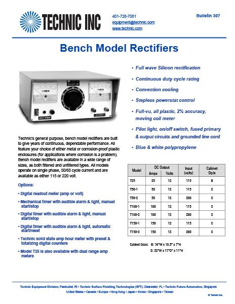 Bench Model Rectifier Systems