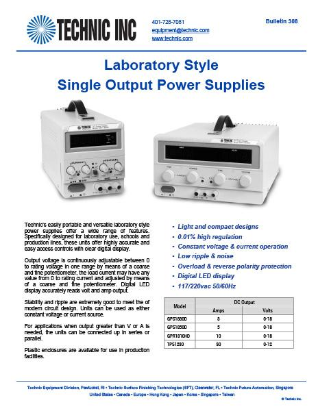 Laboratory Style Single Output Power Supplies
