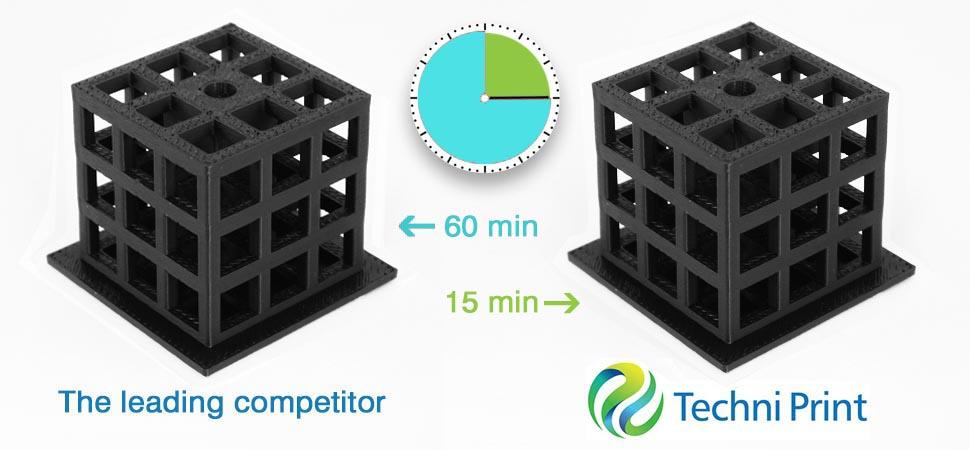 The leading competitor's solution takes another 45 minutes to do what Techni Print was able to complete in 1/4 of the time.