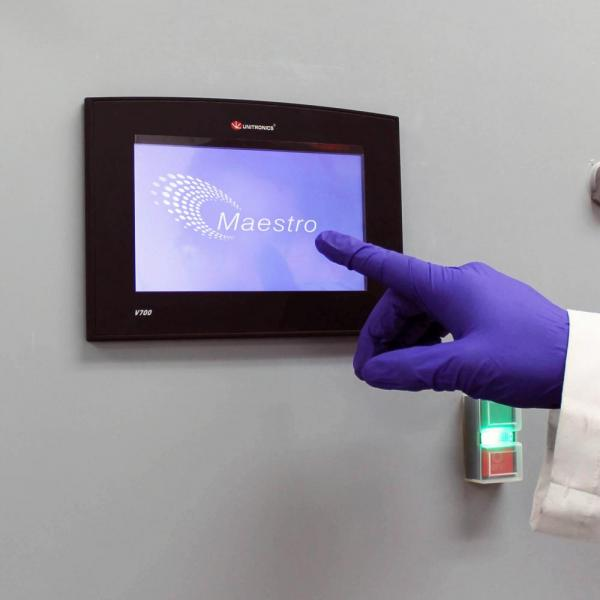 Touch screen controls for monitoring and reporting analyses, configuring system alarms, and exporting data.